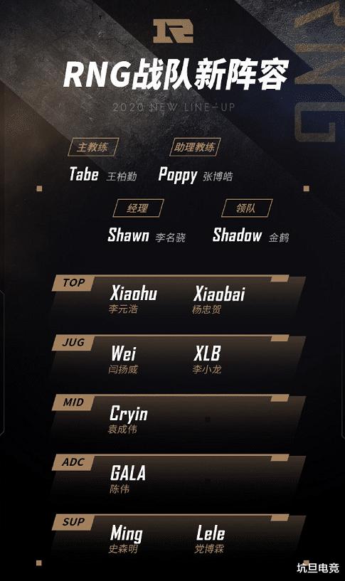 RNG官宣大名单,XLB最为尴尬,Xiaohu正式成为上单选手