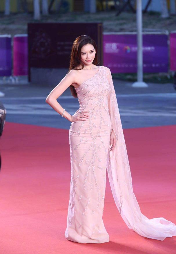 林志玲的裸色裙裝太吸睛,網狀印花很時尚,顯得身材更高級-圖6