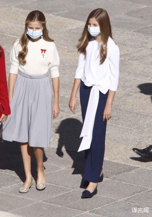 西班牙14歲大公主變優雅少女,金羊毛勛章醒目,與13歲妹妹距離拉大-圖2