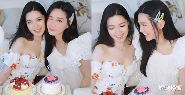 湯洛雯曬合照為妹妹慶生,兩人穿白裙各有風格,湯樂瑤身材超搶鏡-圖2