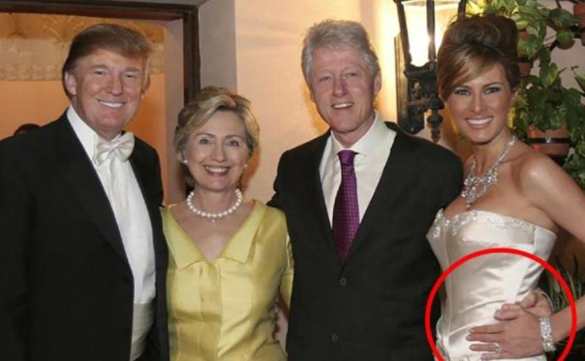 克林頓15年前參加特朗普婚禮,手摟梅拉尼婭,讓新娘都害羞瞭-圖6