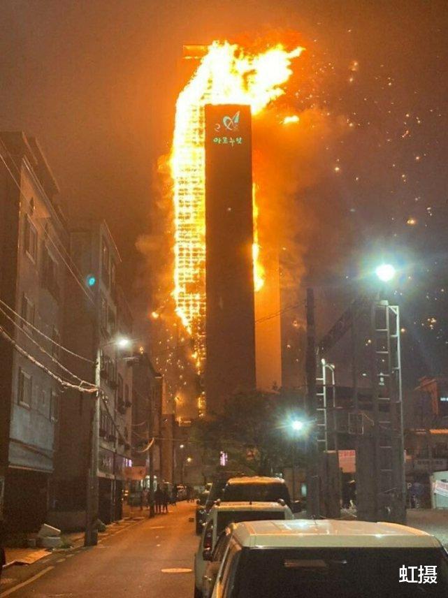 韓國33層高樓起火,瞬間變火炬!雲梯消防車趕來,比導彈車還大-圖2