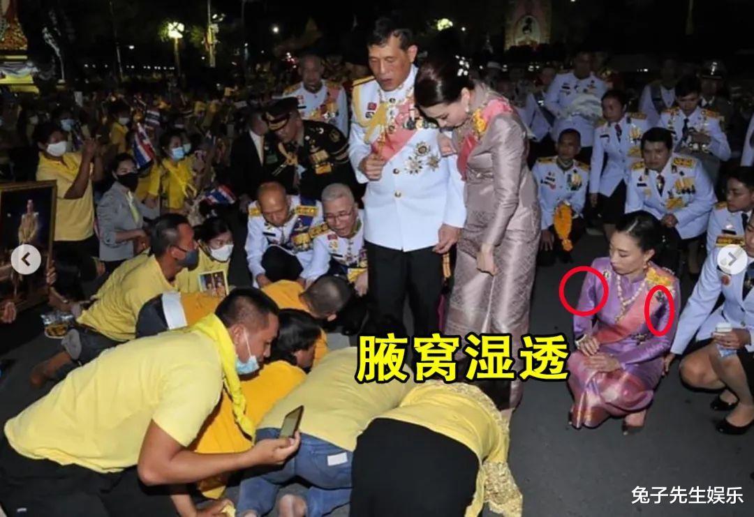 泰國大公主真給老爸面子,跪在水泥地上為泰王捧場,忙得滿頭大汗-圖4