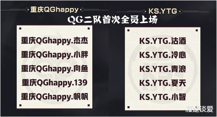 新手冒险家_QG对战YTG,首发5人全换,一队坐冷板凳,两次战胜AG的二队来救世-第2张图片-游戏摸鱼怪