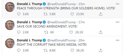 """特朗普住院不忘發推特,清晨六點連發15推,全是""""VOTE""""(投票)-圖3"""