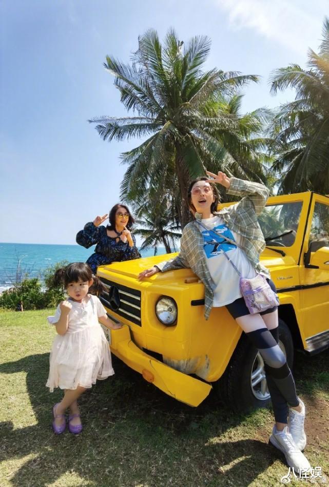 杜若溪曬與女兒度假照,擺同款pose超有范,甜喊小肉肉是閨蜜-圖7