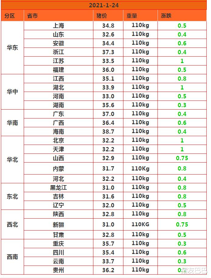 """1月24日豬價:28跌!豬價下跌無休止,春節前要""""跌綠到底""""?-圖3"""
